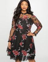 ELOQUII Plus Size Embroidered Tulle Fit and Flare Dress