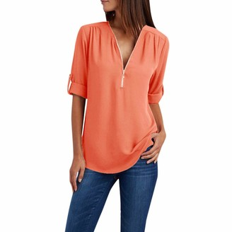 KPILP Women Tops Women's Solid Long Sleeve Blouse Loose Blouse Zipper Deep V Neck Shirts Sexy Fashion Casual Tops Shirts for Ladies Autumn(Orange M)