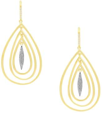 Freida Rothman Fleur Bloom Empire Crystal Sterling Silver Tri-Teardrop Earrings