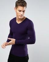 Asos V Neck Jumper In Muscle Fit
