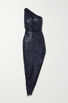 Mason by Michelle Mason One-shoulder Asymmetric Sequined Mesh And Silk Dress - Indigo