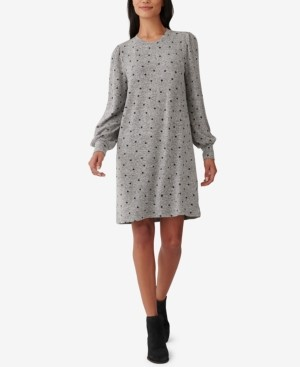 Lucky Brand Dot-Print Blouson-Sleeve Dress