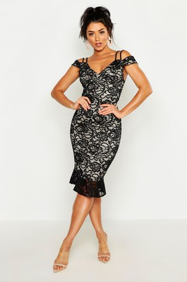 boohoo Lace Cold Shoulder Ruffle Hem Midi Dress