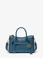 Michael Kors Carine Small Studded Pebbled Leather Satchel
