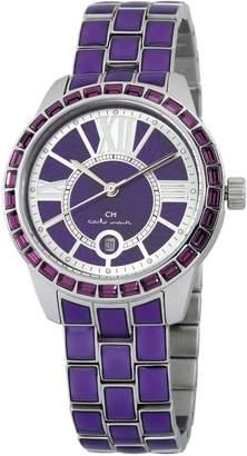 Monti Carlo Cosenza Women's Quartz Watch with Purple Dial Analogue Display and Purple Stainless Steel Bracelet CMZ01-190