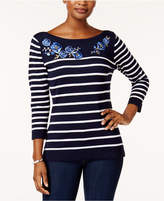 Karen Scott Petite Appliquéd Striped Sweater, Created for Macy's