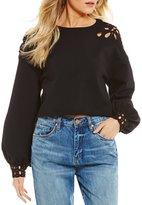 Chelsea & Violet Cropped Cutout Fleece Sweatshirt