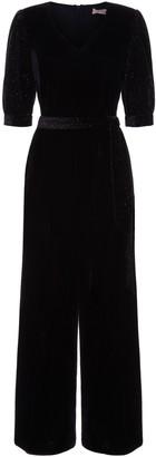 Traffic People Velvet Hetty Wide Leg Jumpsuit In Black