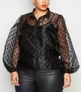 New Look Curves Spot Organza Puff Sleeve Shirt