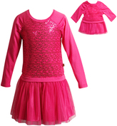Dollie & Me Fuchsia Sequin Dress & Doll Dress - Girls