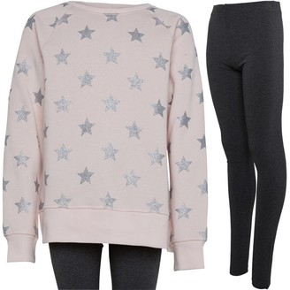 Board Angels Girls Tunic Top And Leggings Set Pink/Charcoal Marl