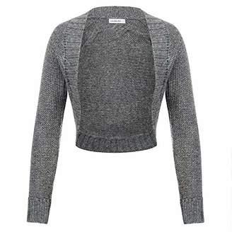 Women Cardigan Bolero Gray Knit Open Front Sweater Coat Twisted Pattern LA18-1 M