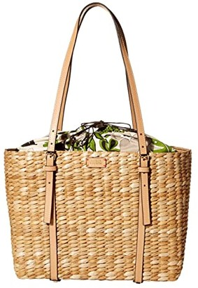 Frances Valentine Large Basket Tote Cornhusk with Vachetta (Natural Leaf) Handbags