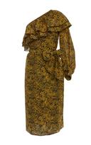 Apiece Apart One-Shoulder Printed Silk and Cotton-Blend Dress