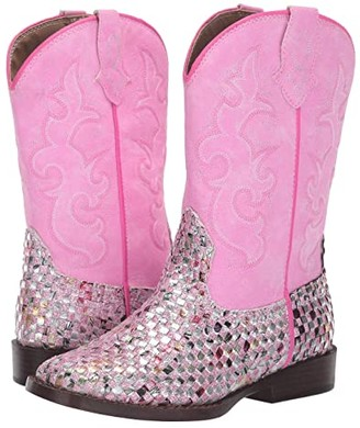 Roper Western Braid (Toddler/Little Kid) (Pink Braided Multicolor Glitter Vamp) Cowboy Boots