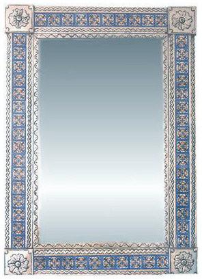Fine Crafts & Imports Big Silver Escudo Tile Talavera Tin Mirror