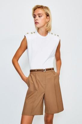 Karen Millen Cotton Button Detail Tee With Shoulder Pads