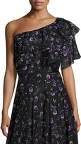 Sachin + Babi Ruffled One-Shoulder Blouse in Violet-Print, Black/Purple