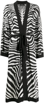 Alanui Zebra-Print Fine-Knit Robe