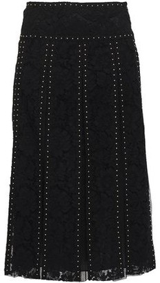 Valentino Layered Studded Cotton-blend Corded Lace And Tulle Midi Skirt