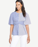 Ann Taylor Striped Poplin Twist Front Top