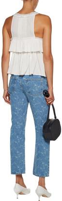 Current/Elliott Floral-print High-rise Straight-leg Jeans