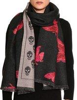 Alexander McQueen Double-Face Butterfly & Skull Wool Scarf, Black/Pink