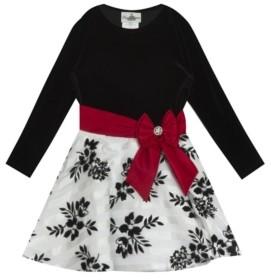 Rare Editions Little Girl Velvet Long Sleeve Bodice To Burnout Organza Flock Skirt