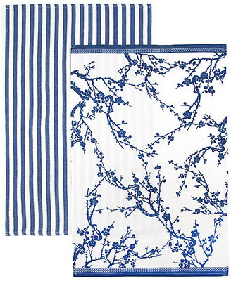 One Kings Lane Set of 2 Quince Stripe Kitchen Towels - Blue/White