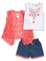 Little Lass Baby Girls Floral Lace Topper, Geometric Graphic Tank, and Shorts Set