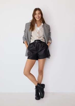 MANGO Belted leather-effect shorts