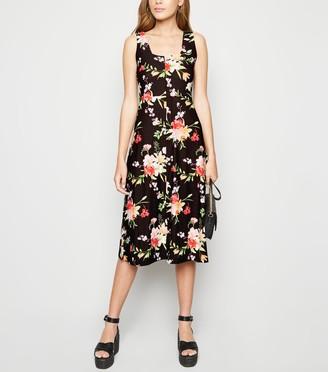 New Look Blue Vanilla Floral Square Neck Midi Dress