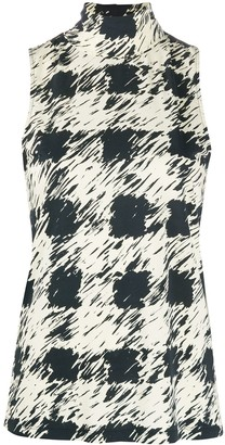 Proenza Schouler White Label Painted Gingham Print Sleeveless Top