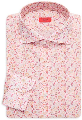 Isaia Floral Cotton Dress Shirt