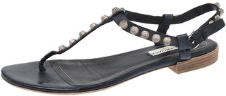 Balenciaga Dark Blue Leather Studded T Strap Flat Sandals Size 38.5
