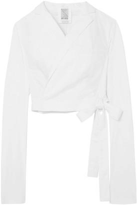 Rosie Assoulin Cropped Cotton-blend Wrap Blaze