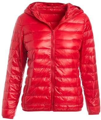 Gingerly Women's Puffer Coats RED - Red Lightweight Packable Down Puffer Jacket - Women
