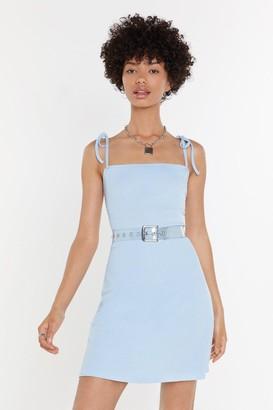 Nasty Gal Womens Tie Everything Ribbed Mini Dress - Blue - 4, Blue