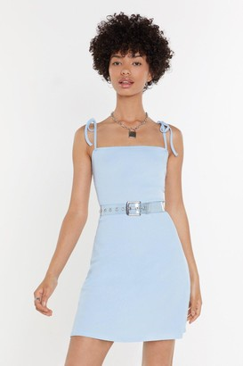 Nasty Gal Womens Tie Everything Ribbed Mini Dress - Blue - 4