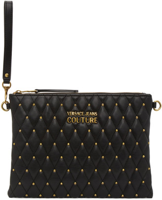 Versace Jeans Couture Black Quilted Studded Pouch
