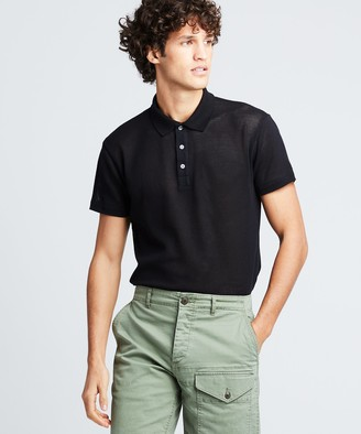 Todd Snyder Short Sleeve Japanese Mesh Polo in Black