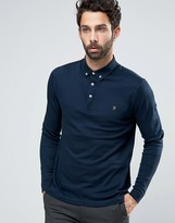 Farah Polo With Long Sleeves In Textured Stripe Slim Fit Navy