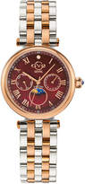 Gv2 Florence Moon Phase Diamond Swiss Watch, Two-Tone/Red