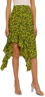 Rokh Floral Jersey High-Low Skirt