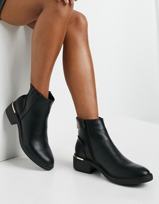 New Look metal heel detail chelsea boot in black