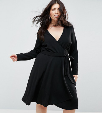 Yumi Plus Long Sleeve Belted Wrap Dress