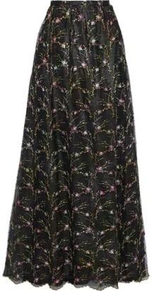 Costarellos Embroidered Metallic Tulle Maxi Skirt