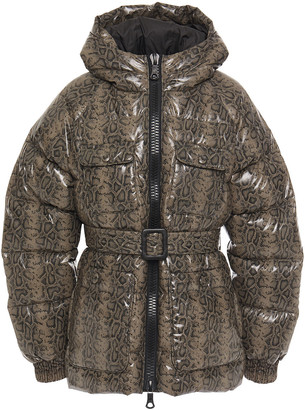 Ienki Ienki Berlin Quilted Snake-print Shell Down Hooded Jacket