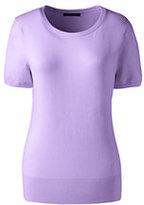 Lands' End Women's Petite Short Sleeve Supima Sweater-Rich Sapphire