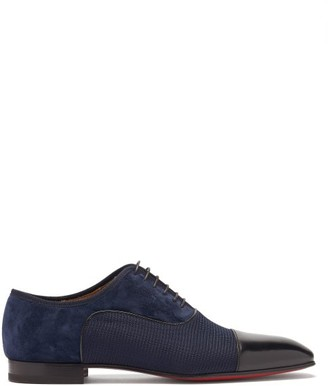 Christian Louboutin Greggo Panelled Leather And Suede Oxford Shoes - Navy